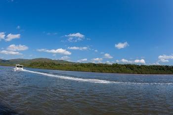 仲間川をすすむ遊覧船